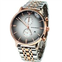 NEW EMPORIO ARMANI AR1721 MEN'S WATCH TWO TONE STAINLESS STEEL CHRONOGRAPH UK