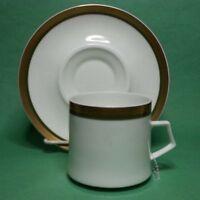 Mikasa Bone China ANGELICA Coffee Cup with Saucer White Gold Trim Narumi Japan