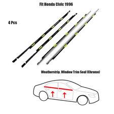4x Weatherstrip ASSY Window Trim Seal Fit Honda Civic 1996 Chrome Set