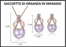 Set Parure Completa Collana Ciondolo Orecchini Oro Perla Cristallo Strass