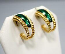 Vintage TRIFARI Earrings Goldtone / Green Enamel Art Deco ~ Jewelry Gift for Her