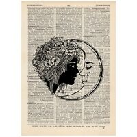 Kissing Moon Celestial Vintage Dictionary Art Print Tattoo Love Gift Alternative