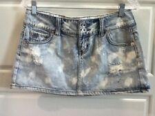 HINT Women's Destroyed Distressed Blue Denim Jean Acid Wash Mini Skirt Size 7