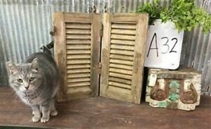 Small Antique Farmhouse Shutter, Natural Wood Shutter Architectural Salvage A32,