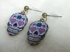 Boucles d'oreilles originales crâne tête de mort mexicaine skull rose serrure