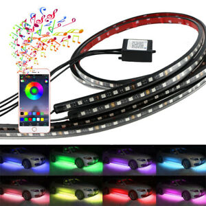 Colorful LED Car Underbody Neon Light Kit Blueteeth APP 2x90cm+2x60cm Glow Strip
