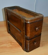 ANTIQUE TREADLE  SEWING CABINET DOUBLE DRAWERS  &  HOLDER