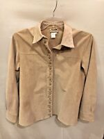Coldwater Creek Biege Floral Embroidered Design Suede Shirt Jacket Sz Small  CR1