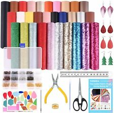 Tuparka 30 Pcs Faux Leather Fabric Sheet 6 Kinds Of Leather Fabric For Earring