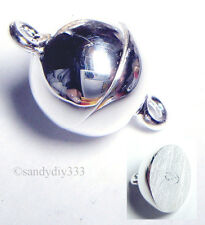 1x STERLING SILVER BRIGHT ROUND BALL MAGNETIC CLASP 8mm N644