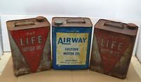 Lot 3 Vintage Airways Life Motor Oil 2 Gallon Can Service Station Car Advertise