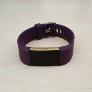 Fitbit Charge 2 Gold Heart Rate Fitness Activity Tracker Purple Wristband Large