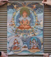 "24""Tibet Cloth Buddhism thangka Tara Guanyin KuanYin Buddha Gods Statue Tangka"