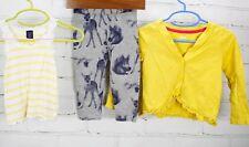 BABY GAP OUTFIT LOT Tank Top + Cardigan + Print Leggings Woodland 18-24M Yellow