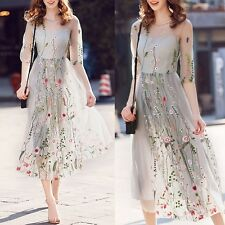 Women Summer Floral Short Sleeve Dress Evening Party Cocktail Casual Long Dress