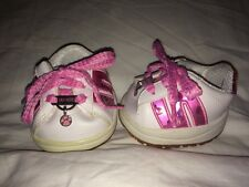 Build a Bear Skechers Fuchsia Pink/White Hologram Tennis Shoes w/ Paw Charm