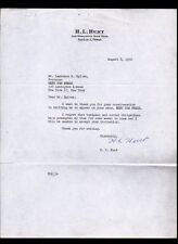 H L Hunt - Texas Oil Baron -  Haroldson signs 1956 letter on his letterhead RARE