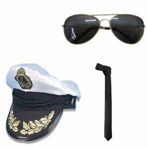 MENS AIRLINE CAPTAIN HAT TIE GLASSES AVIATOR AVIATION PILOT FANCY DRESS COSTUME