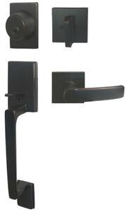 Oil Rubbed Bronze Front Entry Door Handle  Lever Handleset Locks single deadbolt