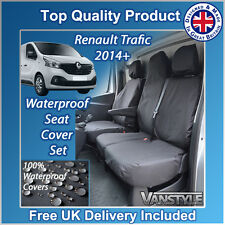 RENAULT TRAFIC SPORT / BUSINESS+ 2014+ BLACK TAILORED WATERPROOF SEAT COVERS 1+2