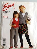 Girls Skirt Pants Lined Vest Sewing Pattern 8312 Size 2 3 4 5 6 McCalls