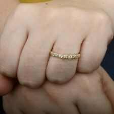 Solid 14K Yellow Gold Genuine SI G-H Diamond Half Eternity Engagement Band Ring