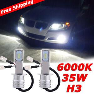 pair H3 LED clear white Fog Lights 70w DRL car conversion kit super bright bulbs