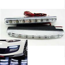 2x White 8LED 12V Daytime Running Lights Driving Fog Lamp DRL For Hyundai Toyota
