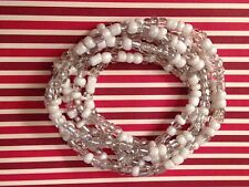 Beautiful white clear mix glass seed bead stretch bracelets multi strand