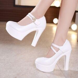 Buckle High Heels Leather High Heels Women Platform High Heels Wedding Shoes