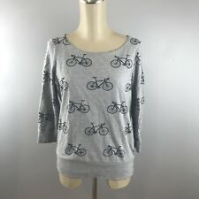 Gray Bicycle Pullover Sweater 3/4 Sleeve Small Bikes AJ