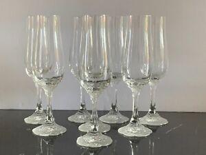 Vintage Rosenthal Germany 8 Classic Rose Monbijou Fluted Champagne Glasses