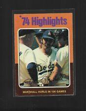 74 HIGHLIGHTS MARSHALL HURLS IN 106 GAMES TOPPS 1975 CARD # 6