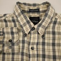 Bill Blass Studio Men's Flannel Shirt Long Sleeve Size Large Check Beige Gray