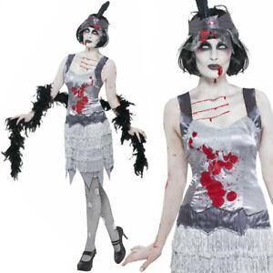 Adults Ladies Zombie Flapper Charleston 20s Horror Halloween Fancy Dress Costume
