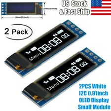 "2Pcs OLED LCD Display 0.91"" IIC I2C White DIY Module 3.3V-5V For Arduino US"