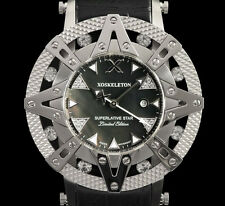New Xoskeleton Superlative Star Ladies Swiss Quartz Black Dial Leather Watch