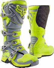 Fox Racing Youth Flo Yellow Gray Comp 5 Dirt Bike Boots Motocross MX 2017 SIZE 8