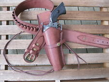"""Leather Gun Belt .38 Caliber w Left Hand Smooth Holster Brown Sizes 34"""" to 52"""""""