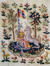 """18""""X21"""" HAND EMBROIDERD NEEDLEPOINT-PRINCESS & UNICORN, CLUNY - TO COMPLETE"""