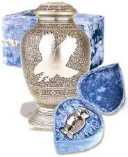 Set of Adult (225 cubic inch) & Keepsake (3 inch) Brass Eagle Cremation Urns