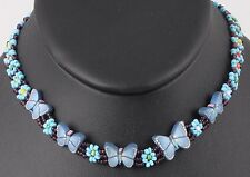 FASHION BEADED FLORAL & BUTTERFLY CHOKER NECKLACE COSTUME 4922B