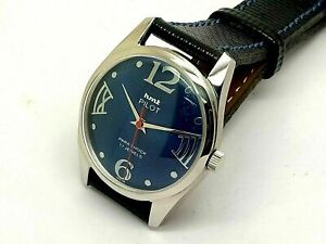 Hmt Pilot Manual Winding Men's Steel Parashock Vintage India Watch Run Condition