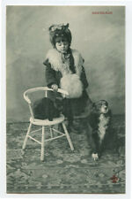 c 1904 Child Children Cute Girl w/ Cat & Dog French photo postcard