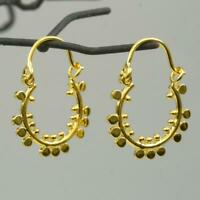 Pair 18K Gold Vermeil over Sterling Silver Creole Earring 1.65g Bali Granulation