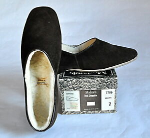 Morlands Kenmore sheepskin lined house slippers brown suede England 7 1/2 sherpa