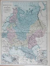 1890 LARGE VICTORIAN MAP -  RUSSIA IN EUROPE, ST PETERSBURG, ODESSA, MOSCOW