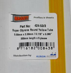 "MAQUETT 424-53/3 Super Styrene yellow tube 3mm x 2mm / 0.118""x 0.080"" x 330mm X5"