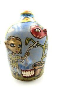 stacy lambert   face jug, pottery, folk art   7.5.'' x 5''