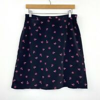 Vintage 90s Suzanne Grae Womens A-Line Skirt Floral Black Grunge Size 14 fit 10